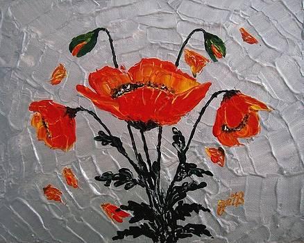 Red Poppies original palette knife by Georgeta  Blanaru