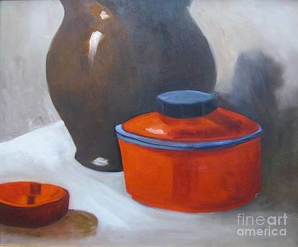 Red Pot Still Life by Barbara Haviland