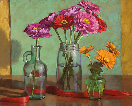 Red Ribbon and Zinnias by Sarah Blumenschein