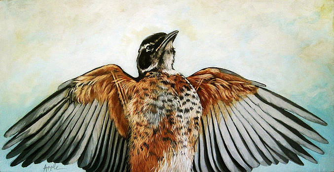 RED ROBIN Bird realistic animal art original painting by Linda Apple