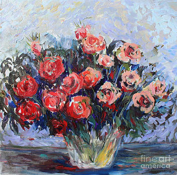 Red Roses in Glass by Avonelle Kelsey
