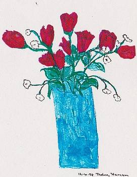 Red Roses in Vase by Thelma Harcum