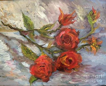 Red Roses by Irene Pomirchy