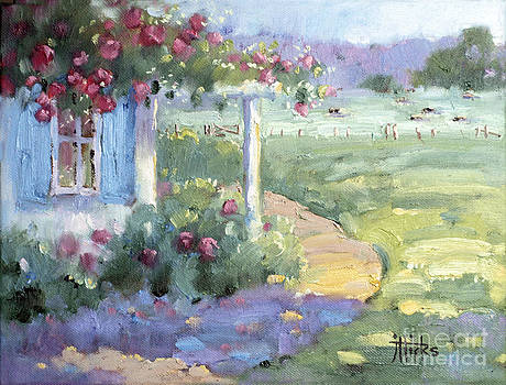 Red Roses over Blue Shutters by Joyce Hicks