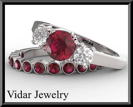 Red Ruby And Diamond 14k Eternity Wedding Ring And Engagement Ring Set by Roi Avidar