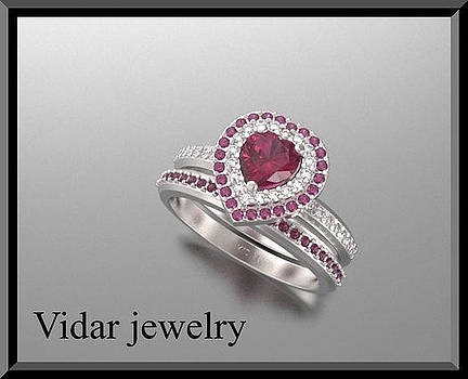 Red Ruby And Diamond 14k Heart Wedding Ring And Engagement Ring Set by Roi Avidar