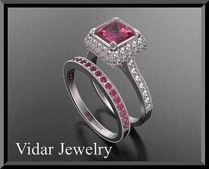 Red Ruby And Diamond 14k Wedding Ring And Engagement Ring Set by Roi Avidar