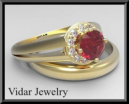 Red Ruby And Diamonds 14k Yellow Gold Wedding And Engagement Ring Set by Roi Avidar
