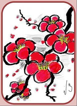 Red Sakura by Mona  Bernhardt-Lorinczi