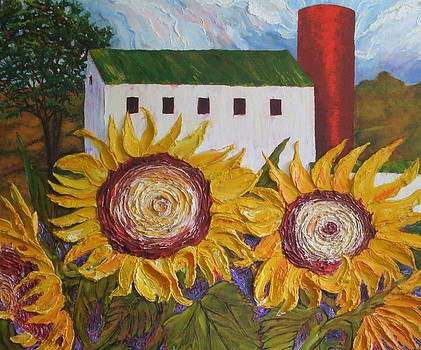 Red Silo Sunflowers and Barn by Paris Wyatt Llanso