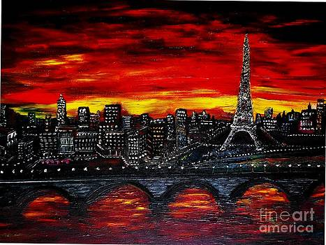 Red Sky over Paris by Rhonda Lee