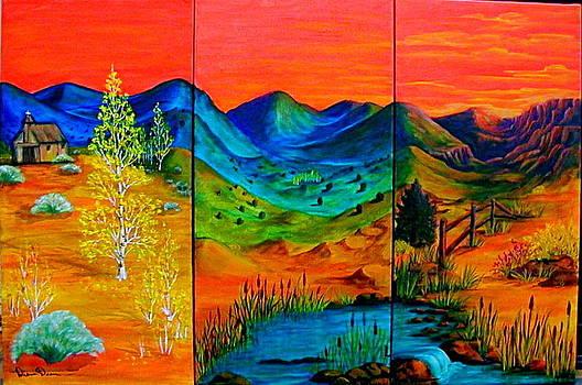 Red Sky Triptyct by Diana Dearen