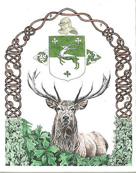 Red Stag with Knotwork and Powers' Coat of Arms by Reppard Powers