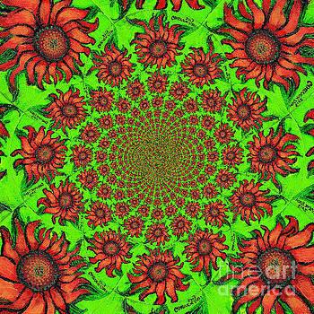 Genevieve Esson - Red Sunflower Kaleidoscope Mandela