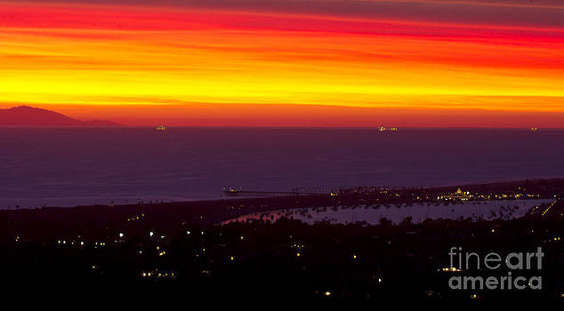 Red Sunset over Newport Beach by Harald Vaagan