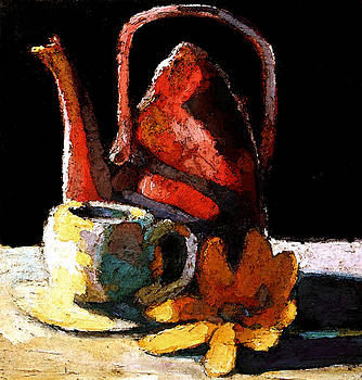 Red tea pot and daisy by Daniel Bonnell