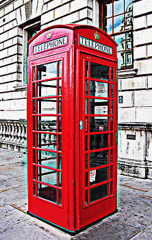 Red telephone box call box in London by Tom Conway