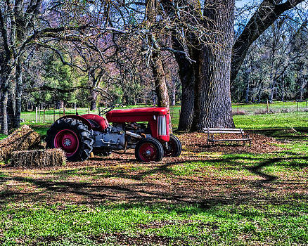 Red Tractor On The Farm by William Havle