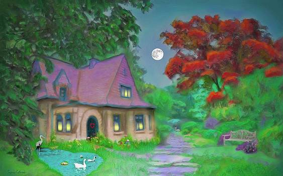 Red Tree Cottage At Dusk by Susanna Katherine