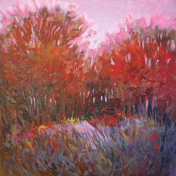 Red Treeline by Mary Brooking