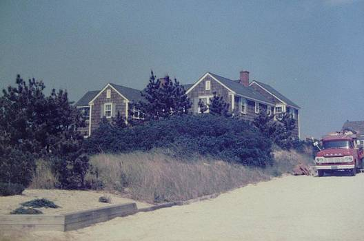 Red Truck at the Beach House Mantoloking NJ by Joann Renner