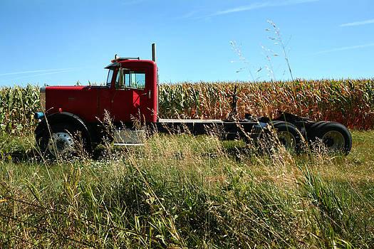 Red Truck in a Corn Field by Lon Casler Bixby