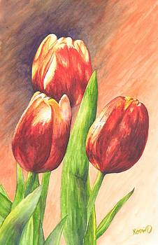 Red Tulips by Oty Kocsis