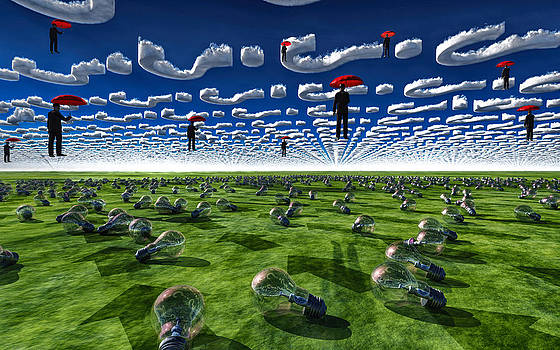 Red umbrealls and men float under query clouds by Bruce Rolff