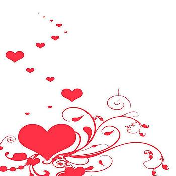Tracey Harrington-Simpson - Red Valentine Hearts on A White Background