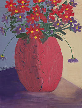 Red Vase of Flowers by Kate Farrant