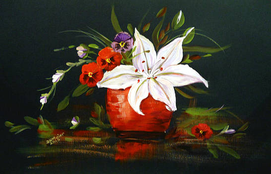 Red Vase with Lily and Pansies by Dorothy Maier