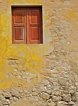 David Letts - Red Weathered Wood Window of the Medieval Village of Obidos