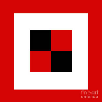 Andee Design - RED WHITE AND BLACK 16 SQUARE