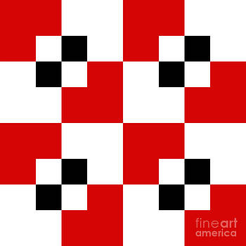 Andee Design - RED WHITE AND BLACK 19 SQUARE
