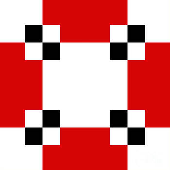 Andee Design - RED WHITE AND BLACK 21 SQUARE