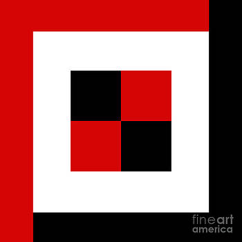 Andee Design - RED WHITE AND BLACK 3 SQUARE