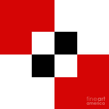 Andee Design - RED WHITE AND BLACK 4 SQUARE