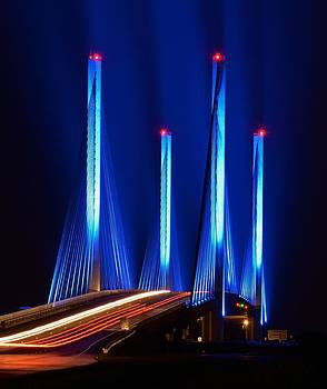 Red White and Blue Indian River Inlet Bridge by William Bartholomew