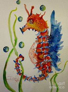 Red White and Blue Seahorse by Delilah  Smith