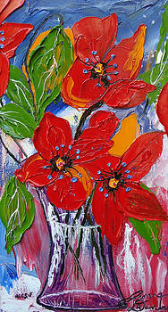 Red Wildflowers 3 by Portland Art Creations
