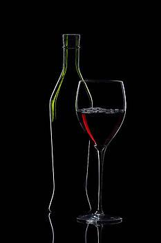 Alex Sukonkin - Red Wine Bottle And Wineglass Silhouette