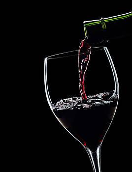 Alex Sukonkin - Red Wine Pouring Into Wineglass Splash Silhouette