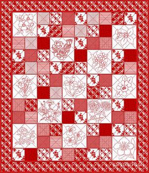 Redwork Floral Quilt by Margaret Newcomb
