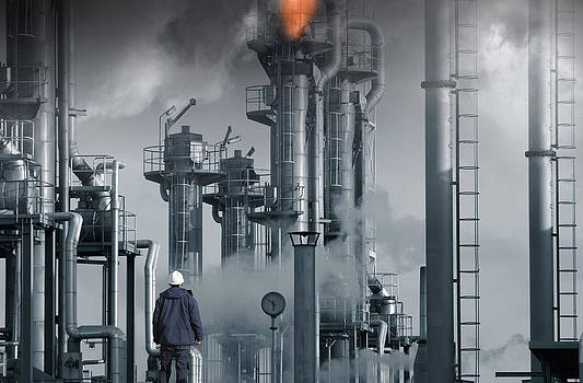 Refinery Flames Fire Smoke And Smog by Christian Lagereek