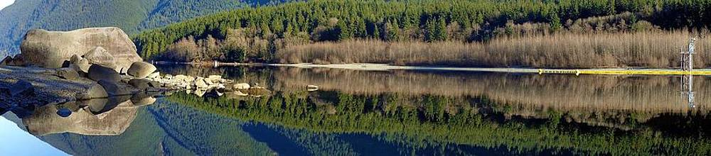 Reflected Alouette Lake Calm Panoramic - Golden Ears Prov. Park, British Columbia by Ian Mcadie