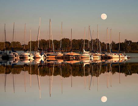 Randall Branham - Reflecting sailboats sundown moon