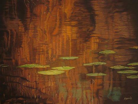 Reflection and Lilly's at Farrington Lake by Harvey Rogosin