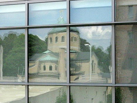reflections in WPI window by Anne Babineau