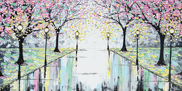 Reflections of Springtime - Pink Cherry Trees by Christine Krainock