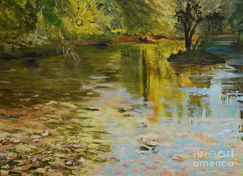 Reflections on Baribeau Pond by Marlene Petersen